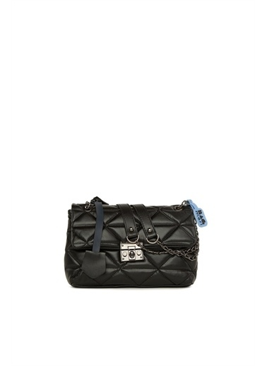 Bagmori  Kadın Üçgen Nakışlı Kilitli Çanta M000006035 Siyah